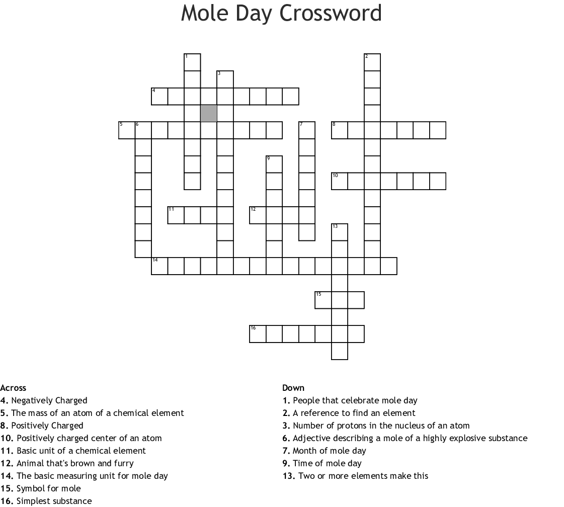 Mole Day Word Search