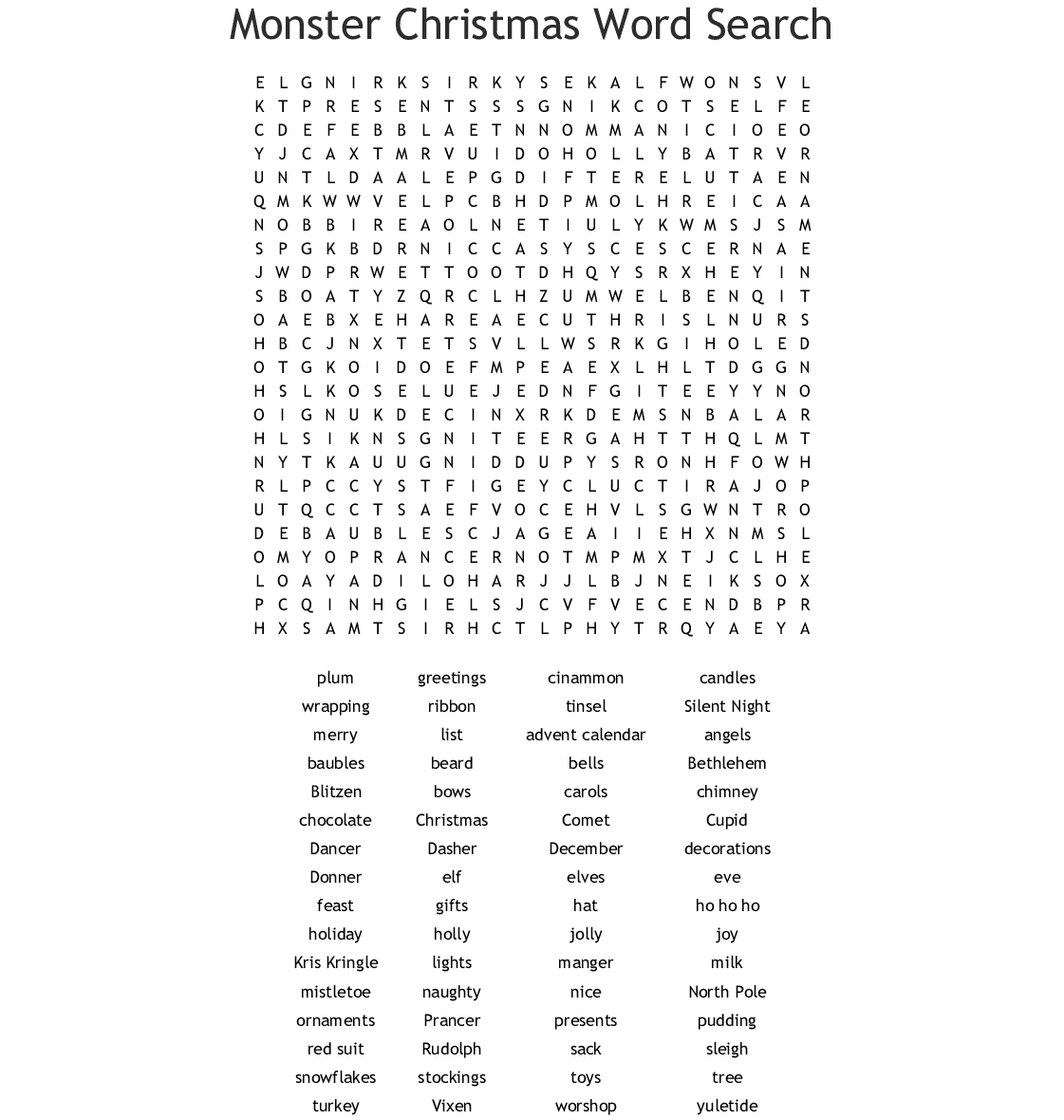 Similar To Christmas Word Search