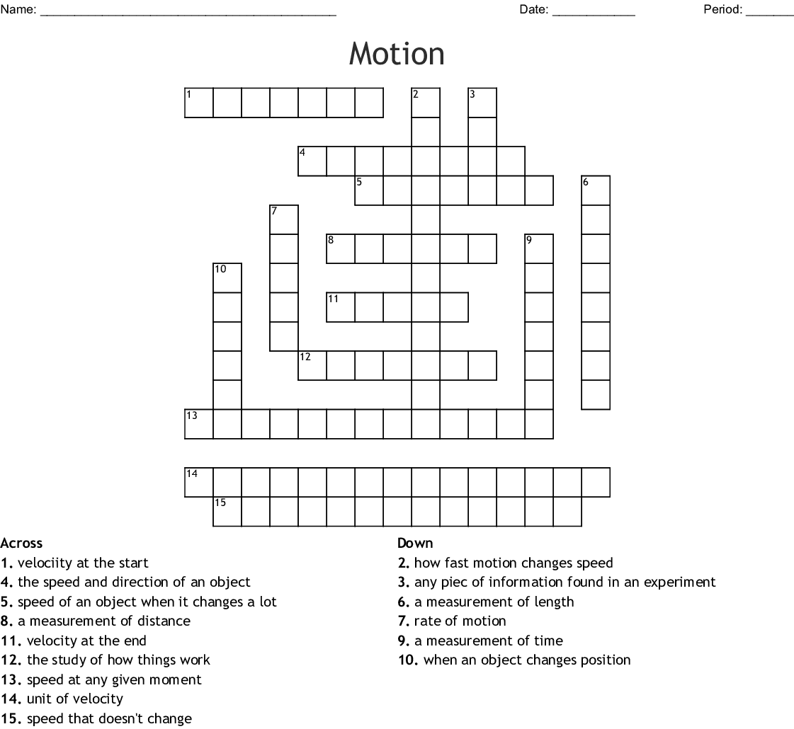Motion And Speed Crossword