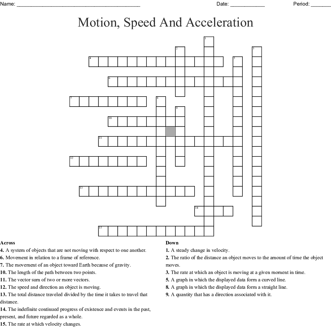 Speed Motion Word Search
