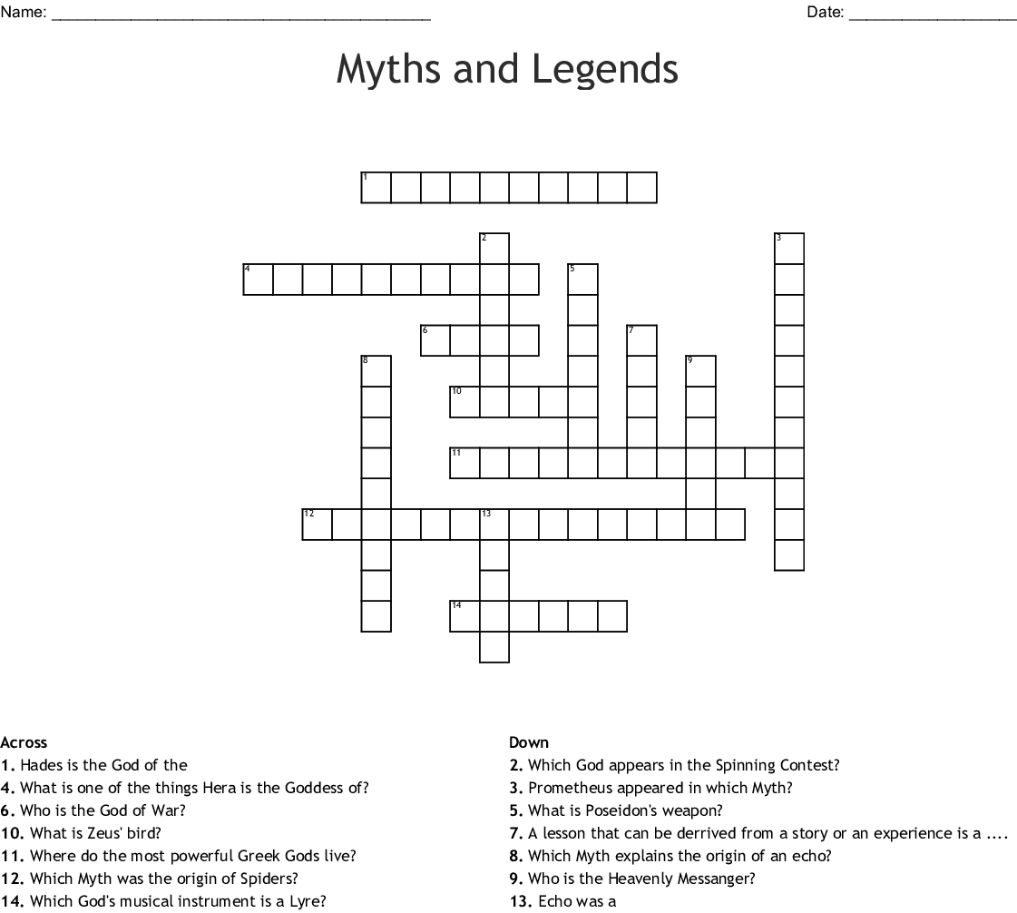 Myths And Legends Crossword