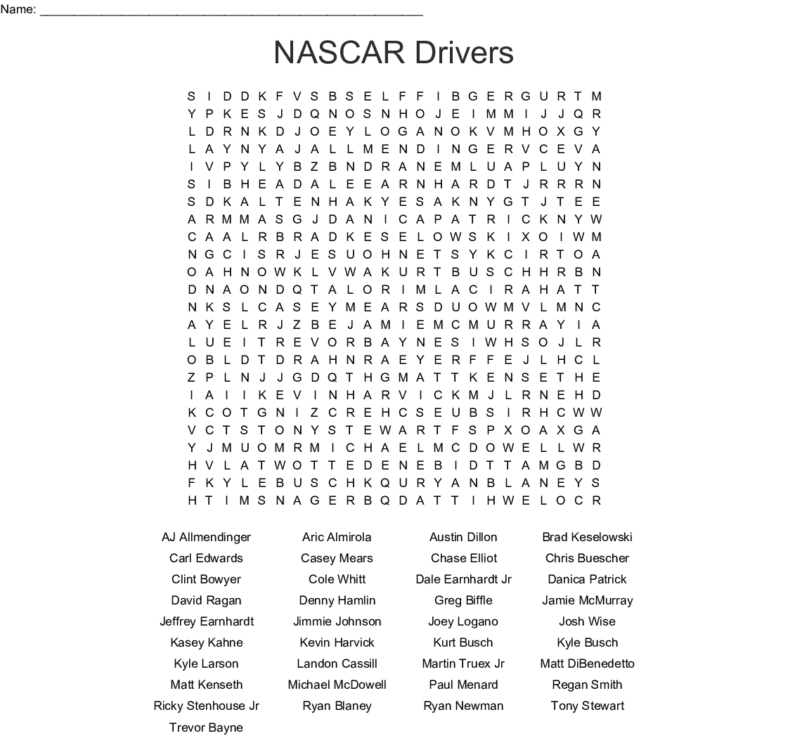 Nascar Drivers Word Search