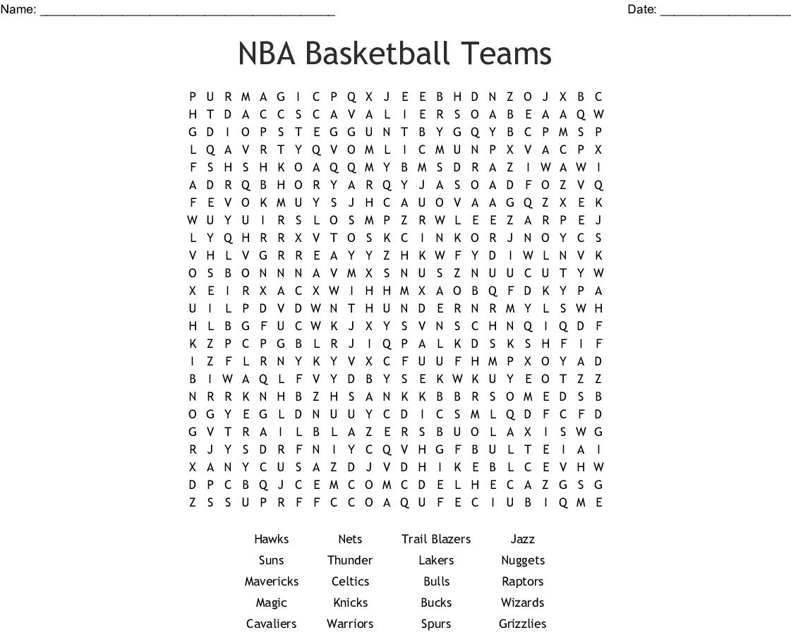 Nba Basketball Teams Word Search