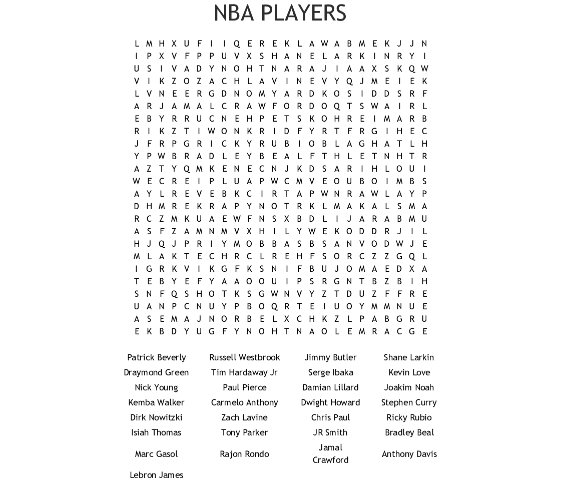 Basketball Players Word Search