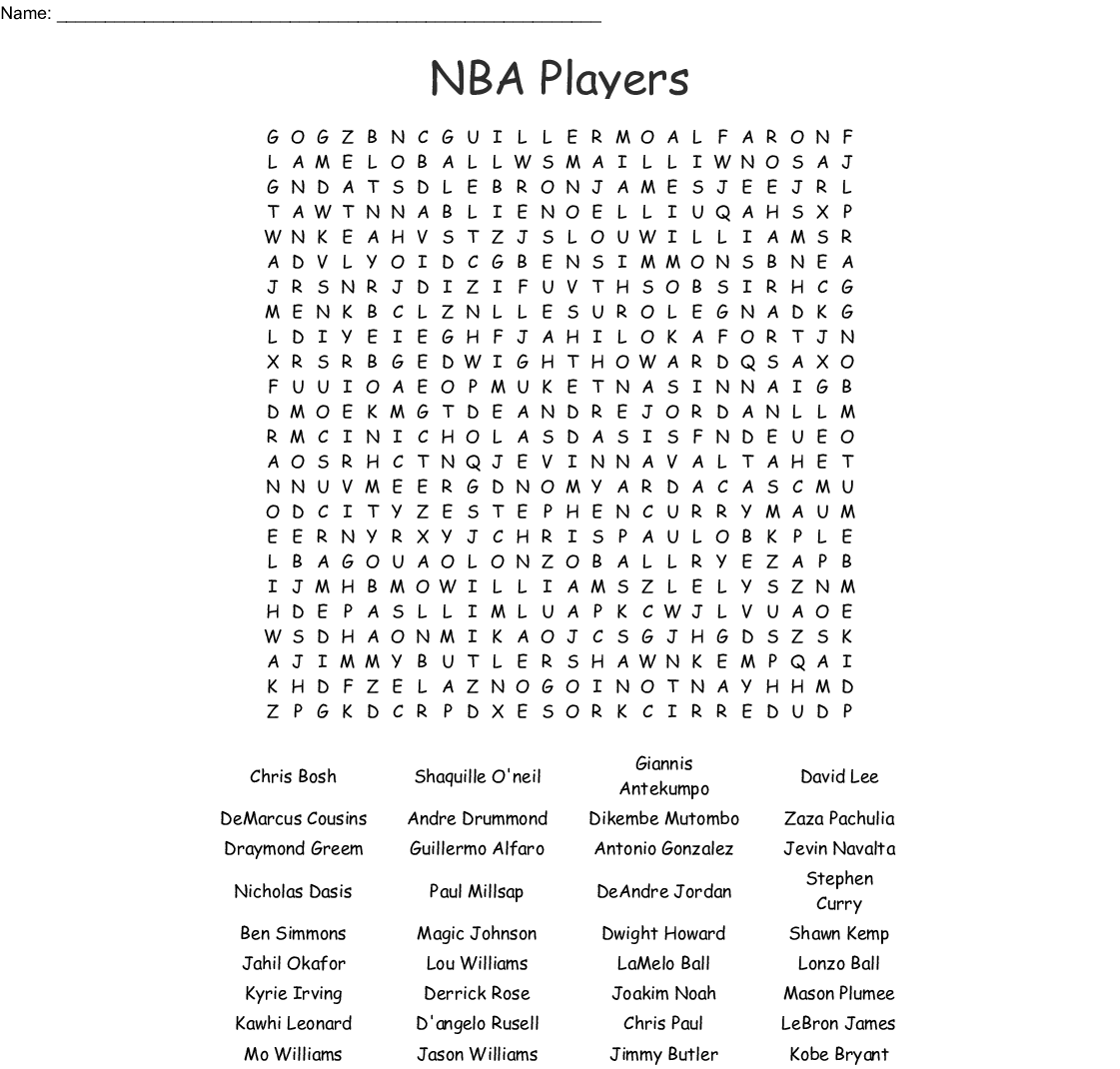 Sports By Jeremiah Word Search