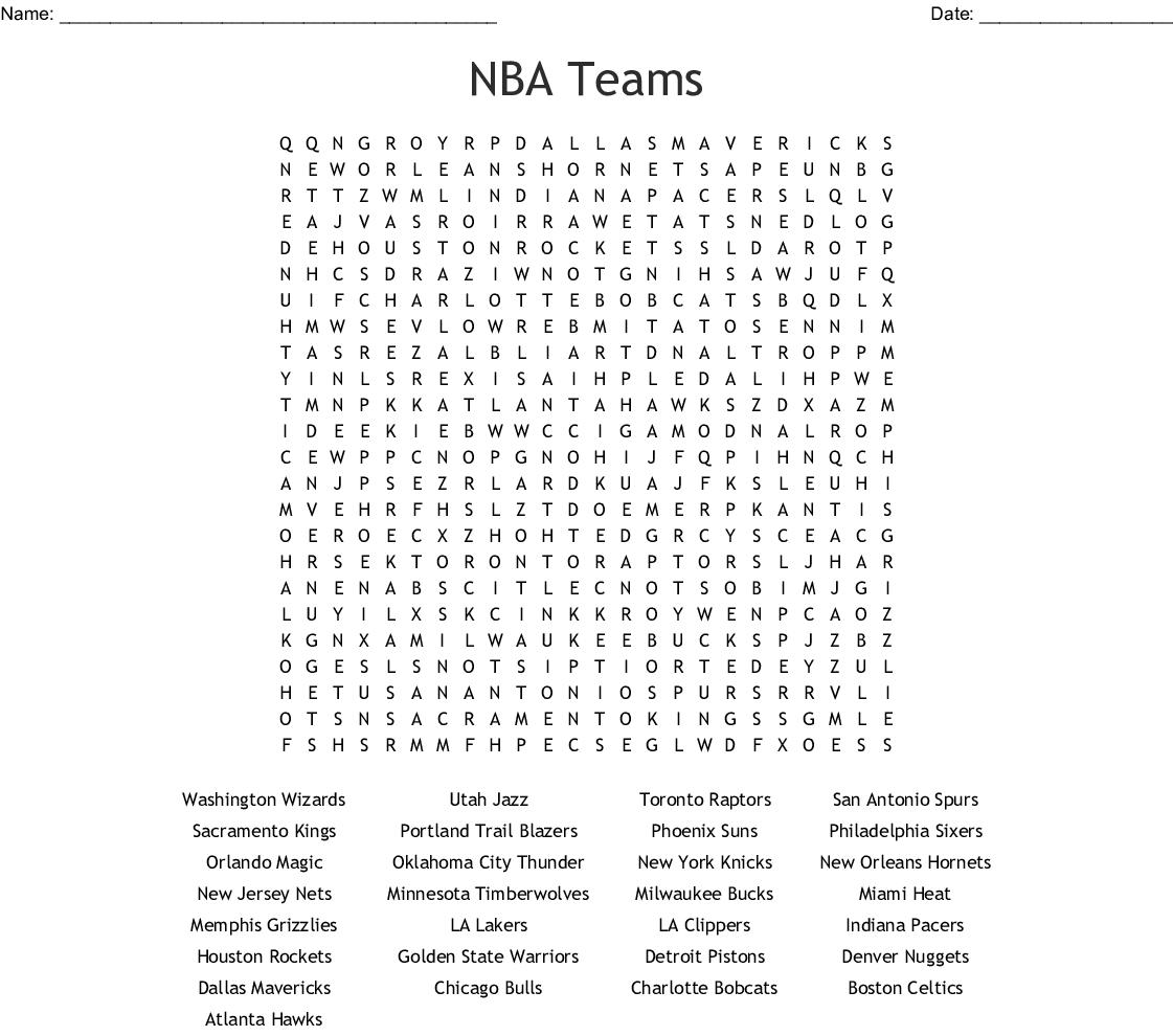 Nba Teams Word Search