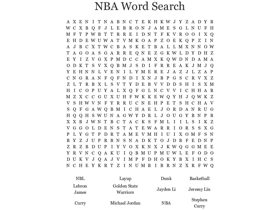 Nba Word Search