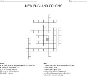 NEW ENGLAND COLONY Crossword WordMint