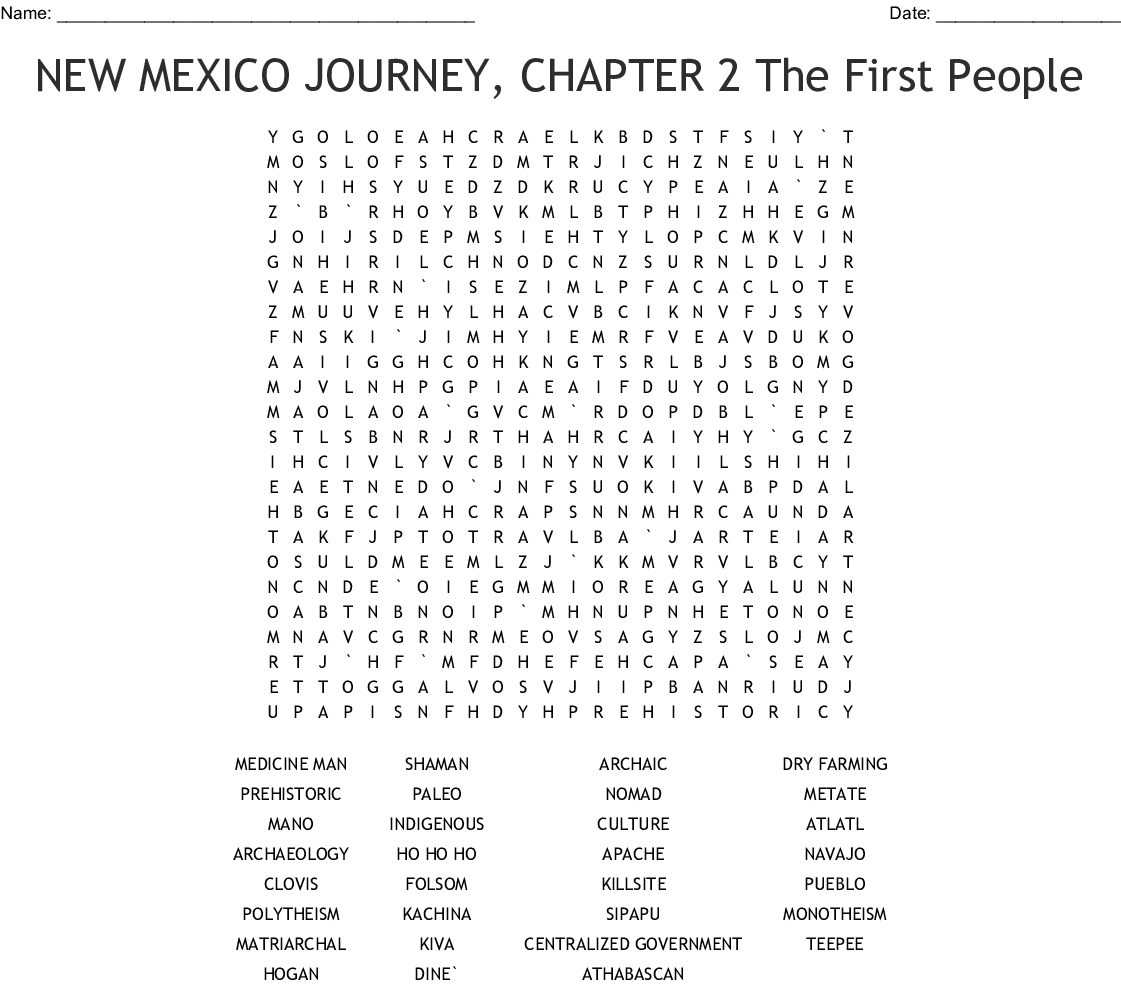 New Mexico History Word Search