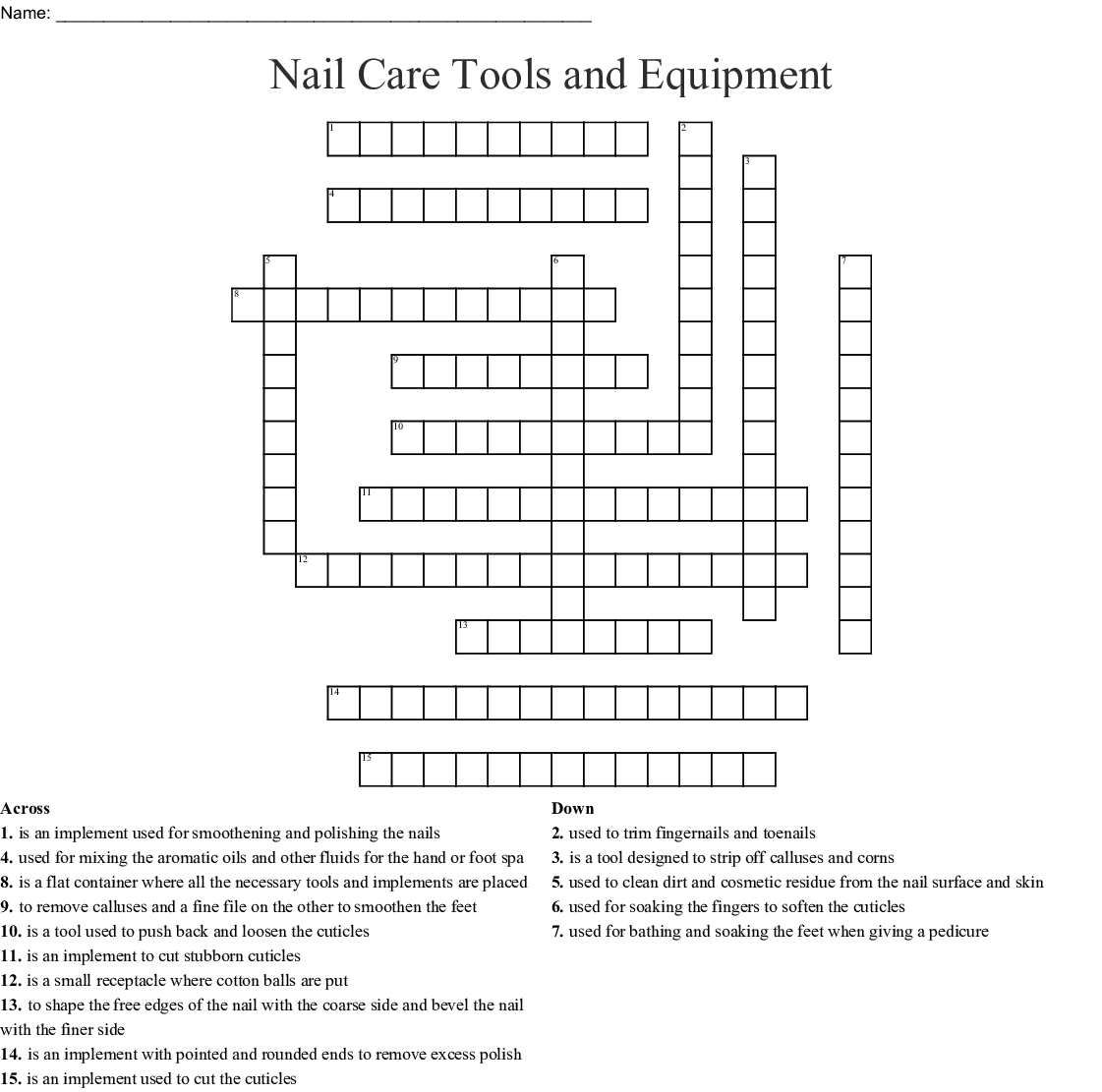 Skin Amp Nail Care Crosswords Word Searches Bingo Cards