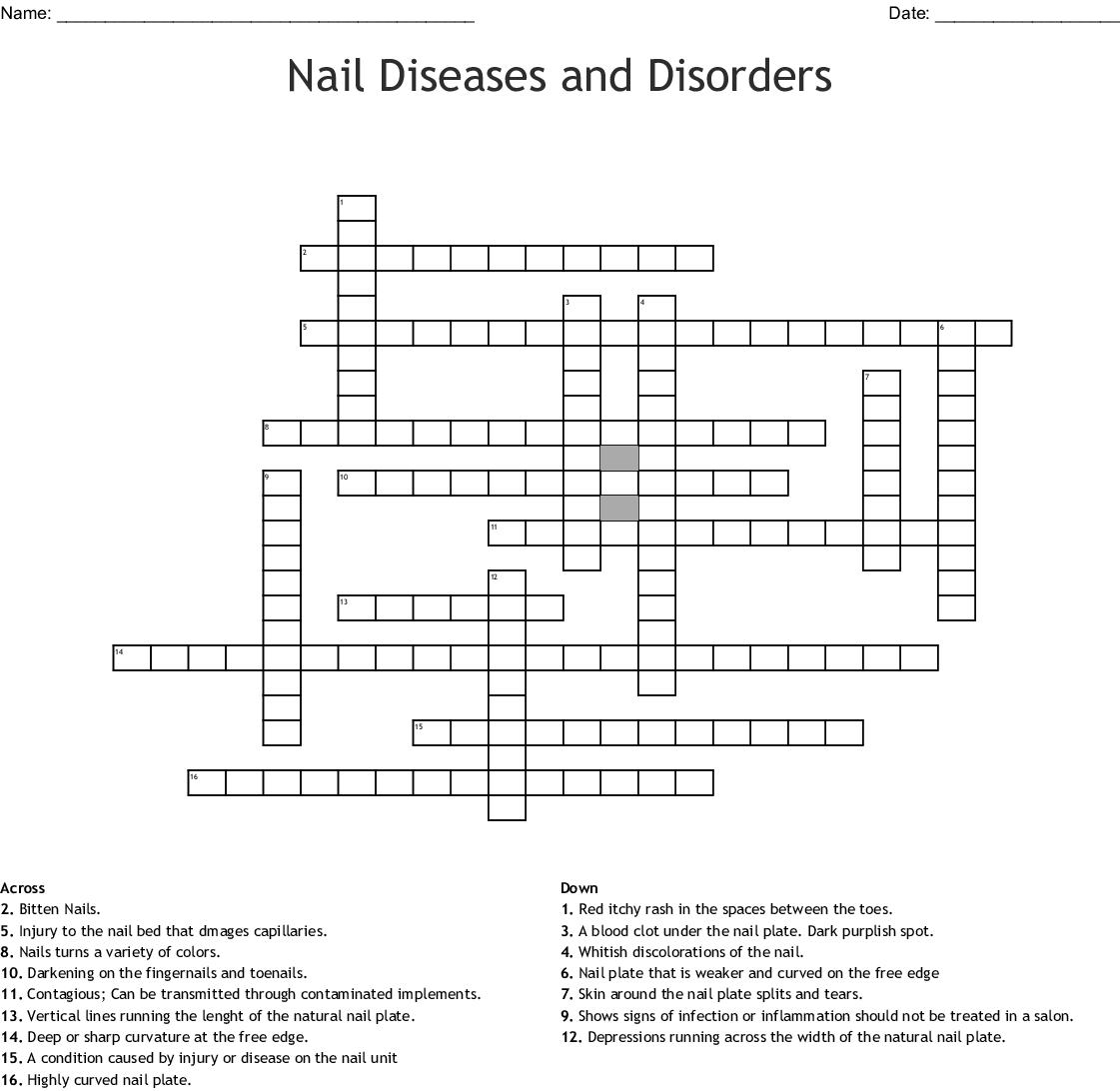 Nail Diseases And Disorders Crossword