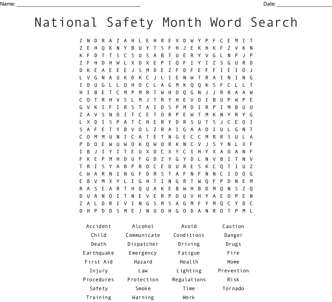 National Safety Month Word Search