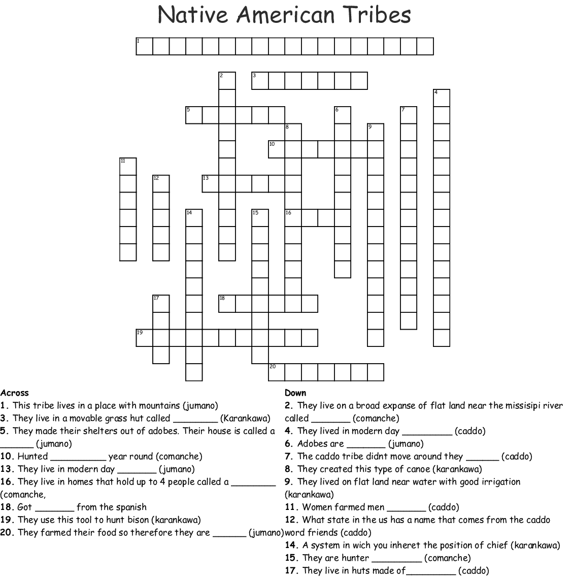 Native American Tribes Crossword