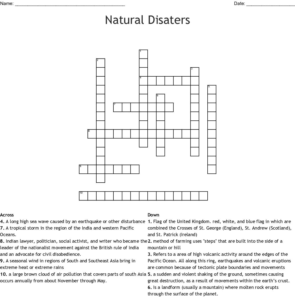 Natural Disaters Crossword