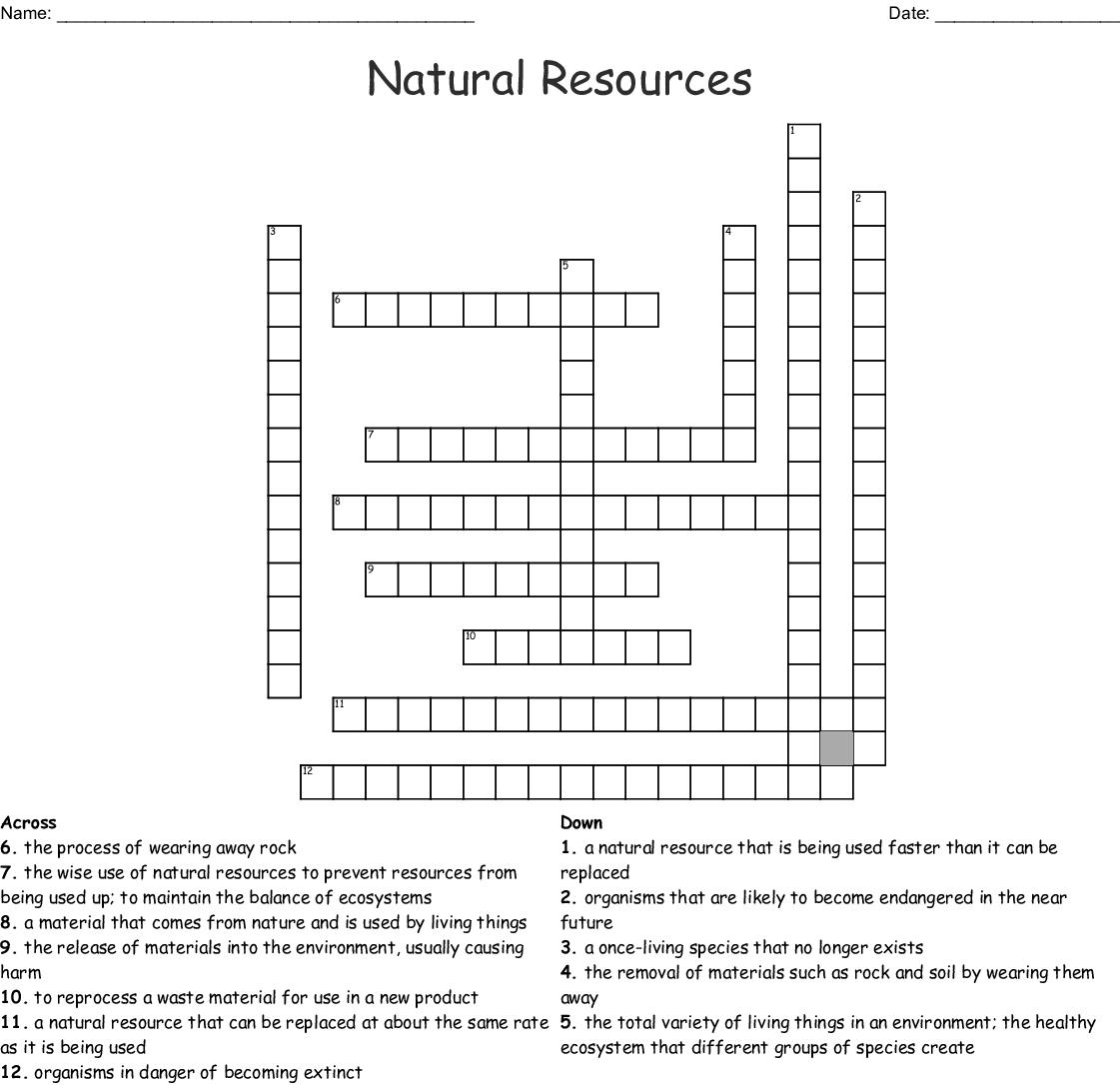 Natural Resources Crossword