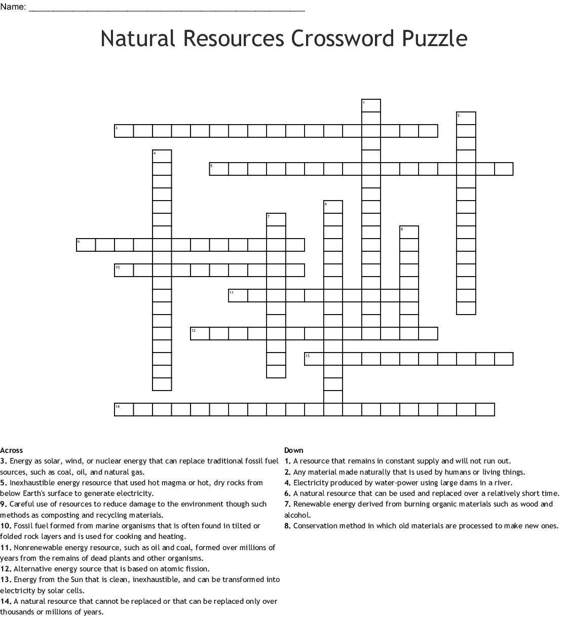 Natural Resources Crossword Puzzle Crossword