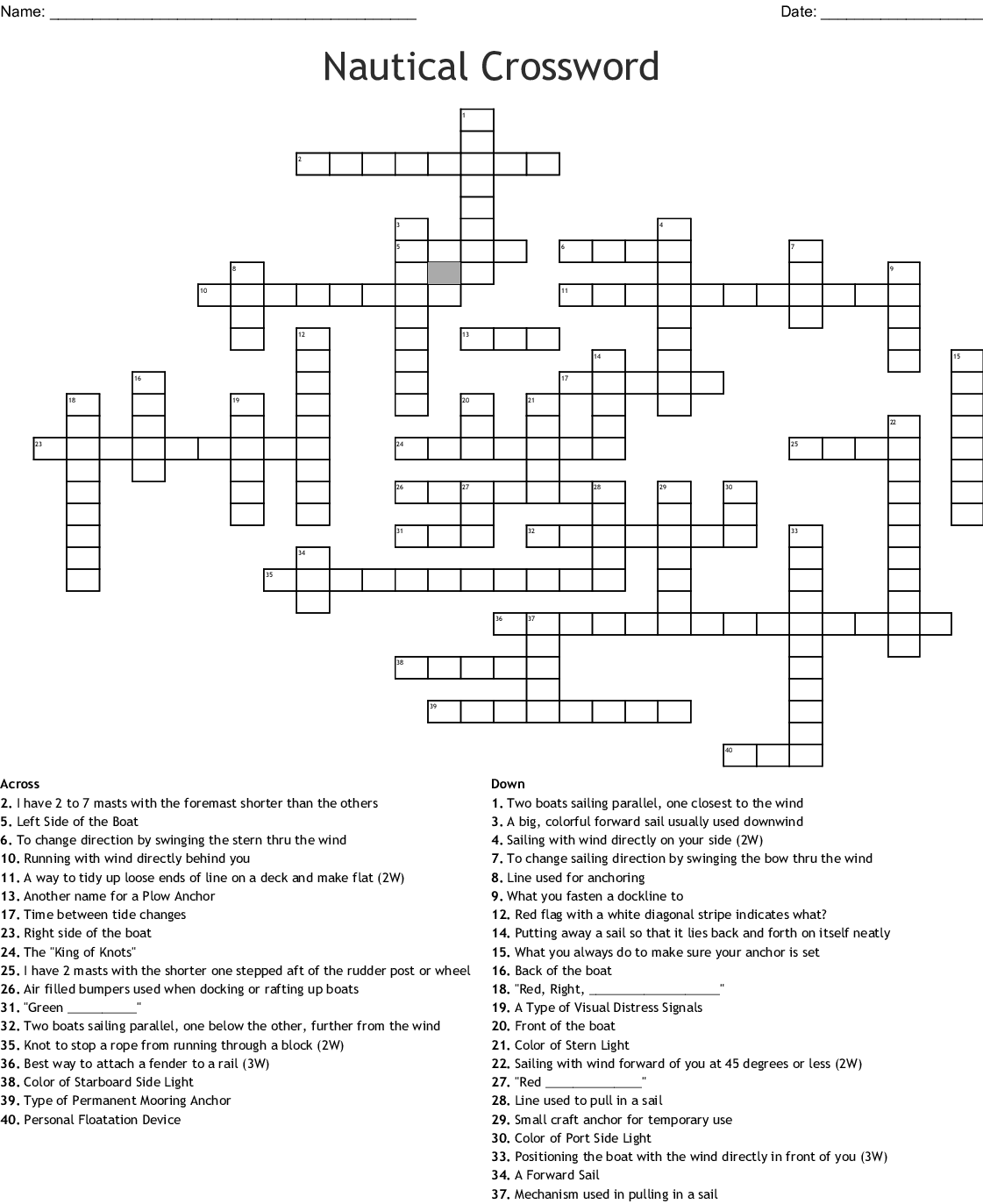 Nautical Crossword