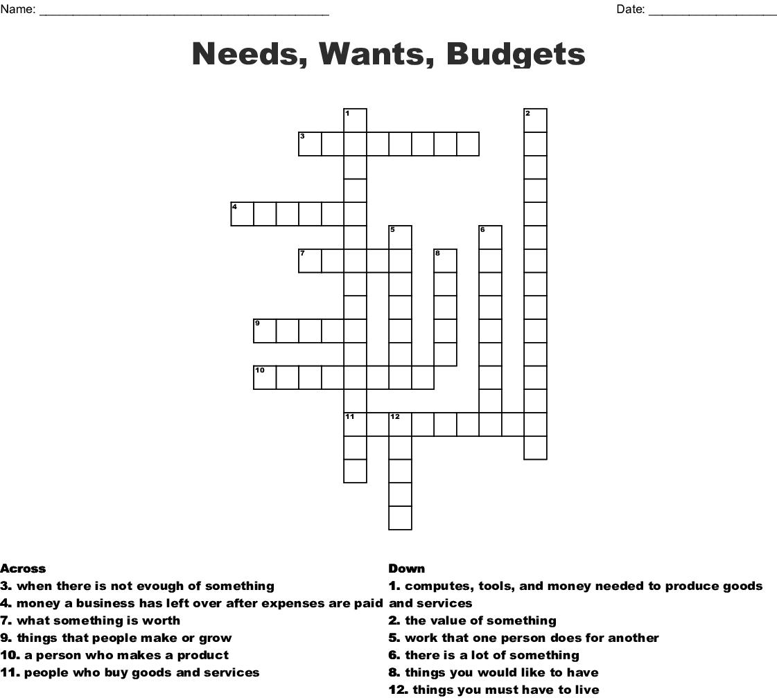 Needs Wants Budgets Crossword
