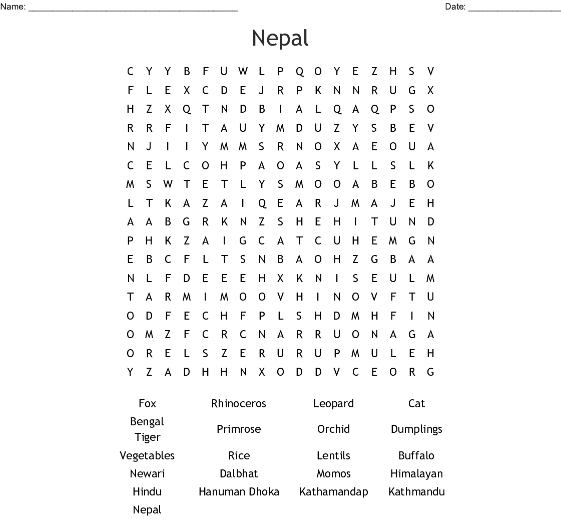 Nepal Word Search