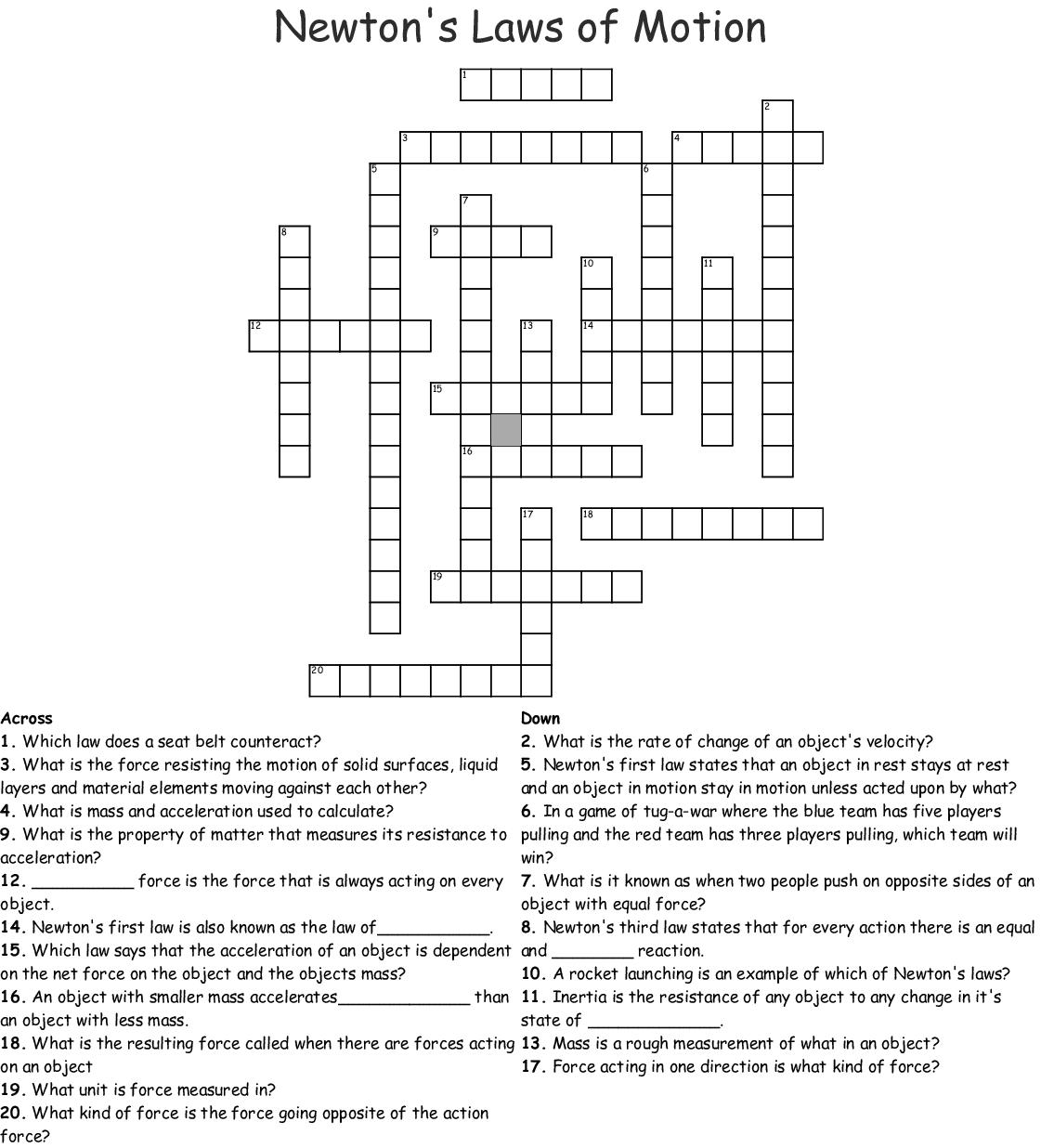 Newton S Laws Of Motion Crossword