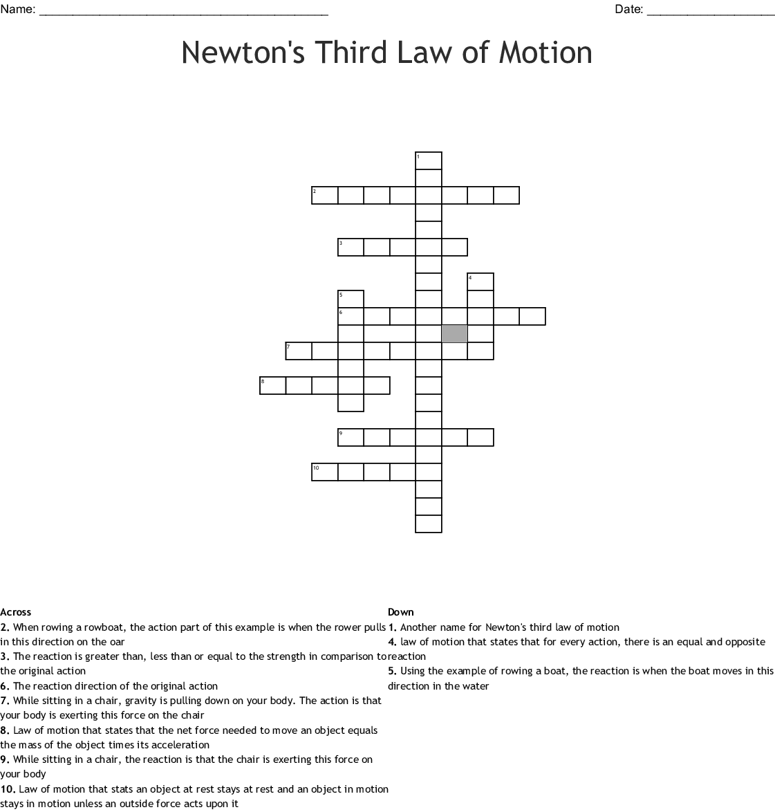 Newton S Third Law Of Motion Crossword