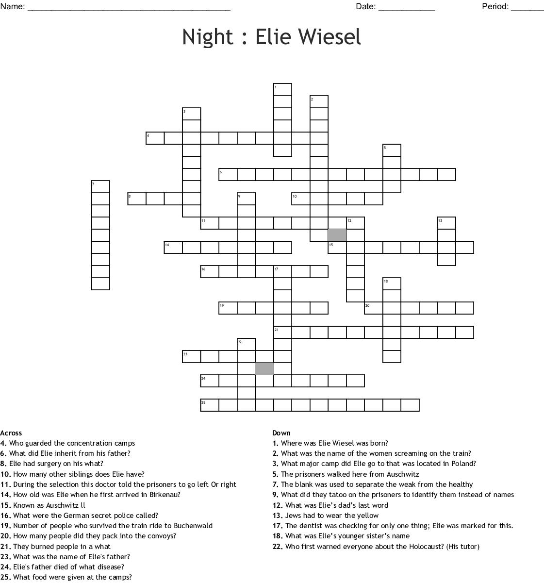 Night By Elie Wiesel Worksheet