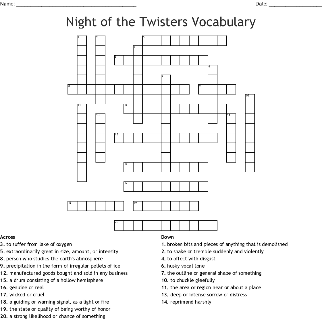 Night Of The Twisters Vocabulary Crossword