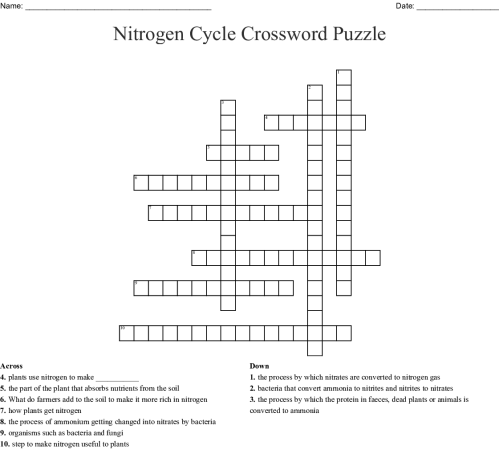 small resolution of nitrogen cycle crossword puzzle created jan 23 2019