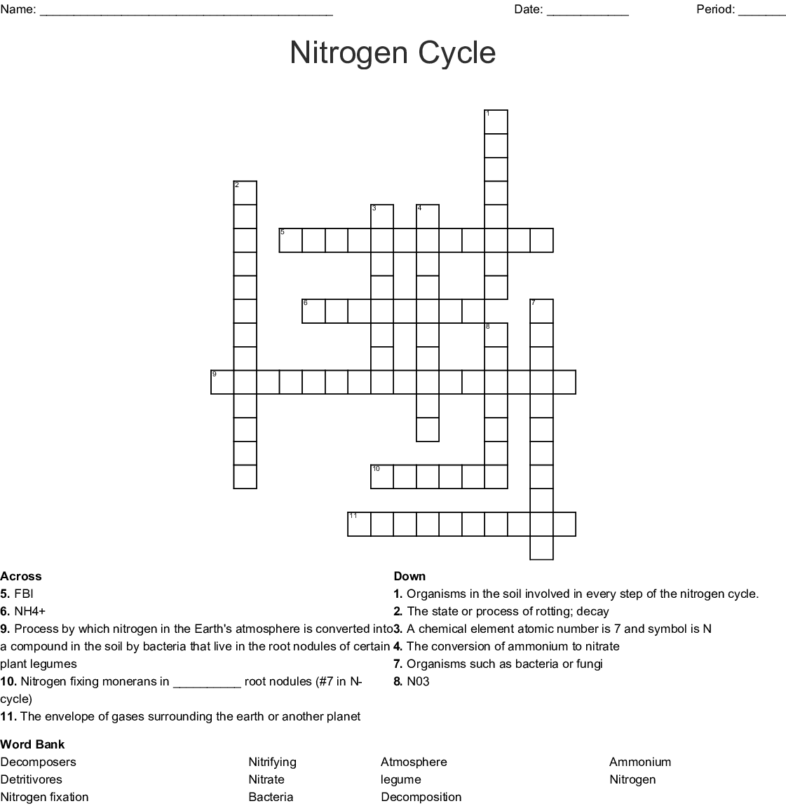 The Nitrogen Cycle Crossword