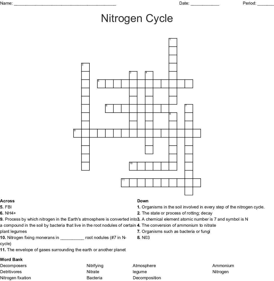 hight resolution of nitrogen cycle crossword