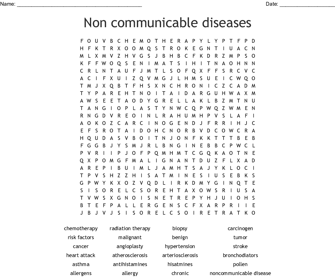 Non Communicable Diseases Word Search
