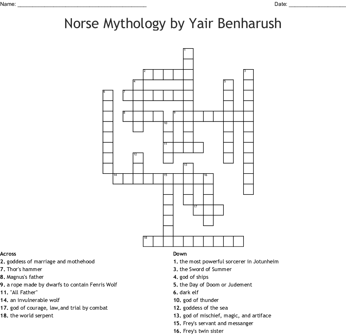Norse Mythology Word Search