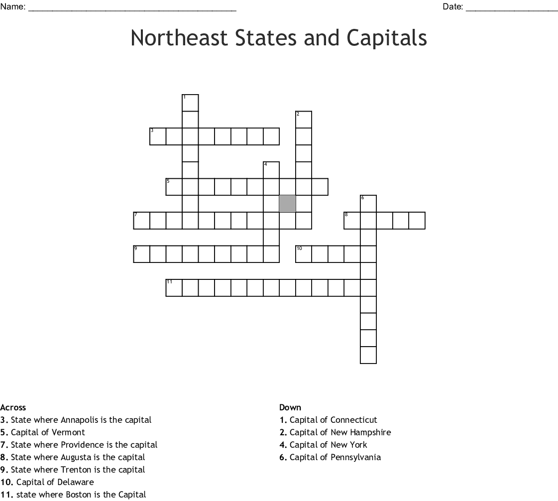 Northeast Region States Amp Capitals Word Search