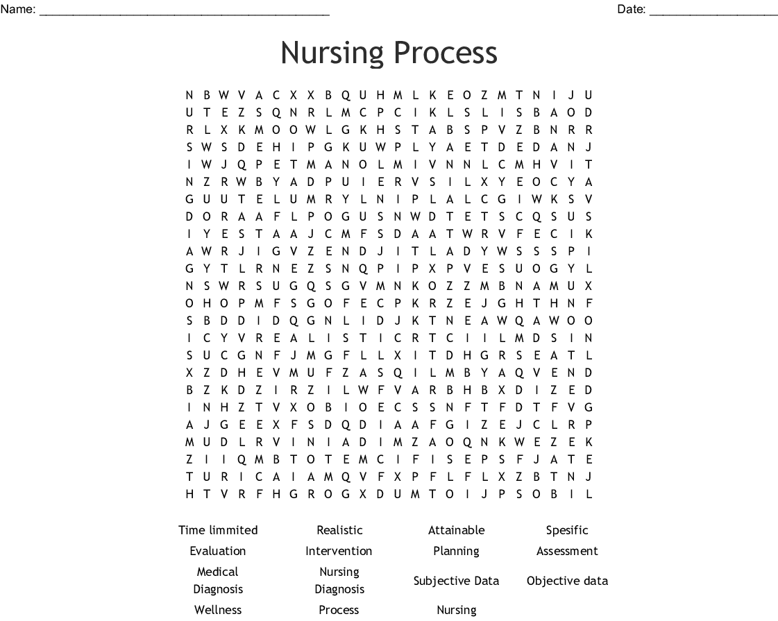 Nursing Process Word Search