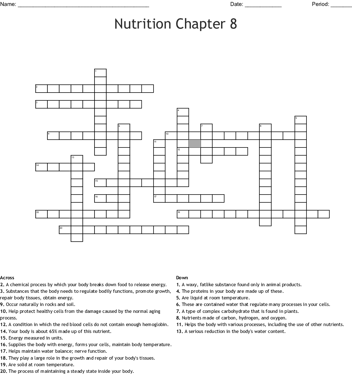 Nutrition Chapter 8 Crossword