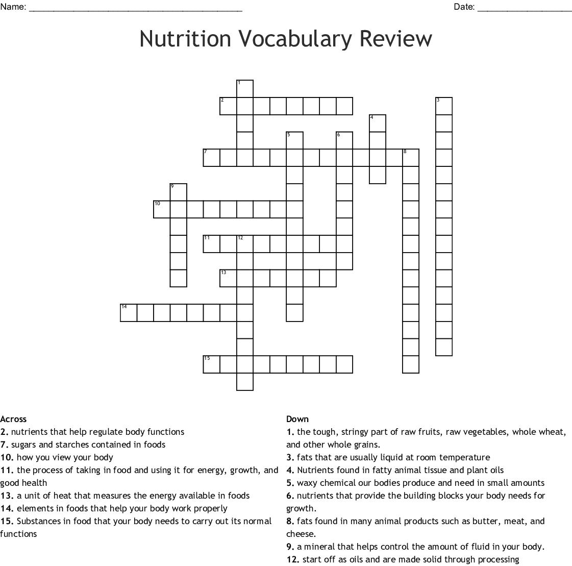 Nutrition Vocabulary Review Crossword
