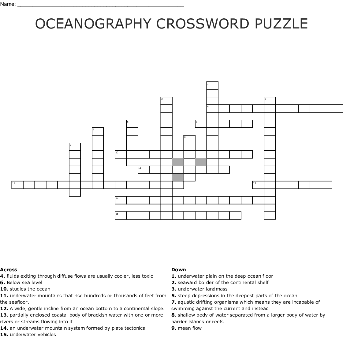Oceanography Crossword Puzzle Crossword
