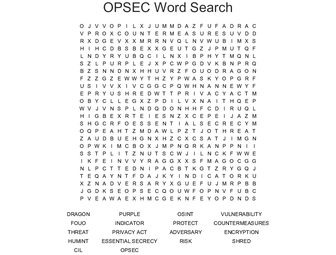 Opsec Word Search