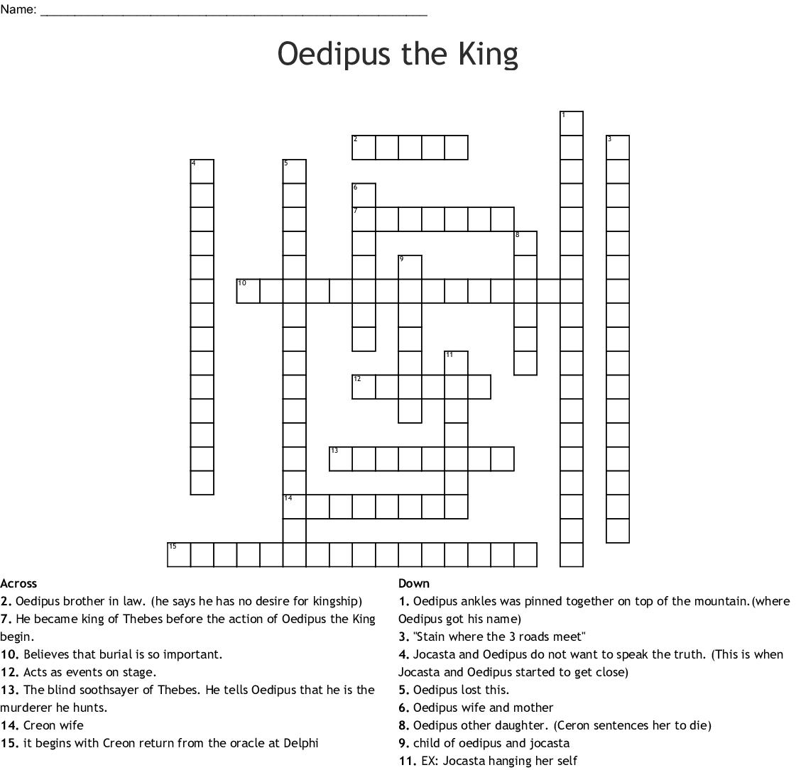 Oedipus The King Word Search