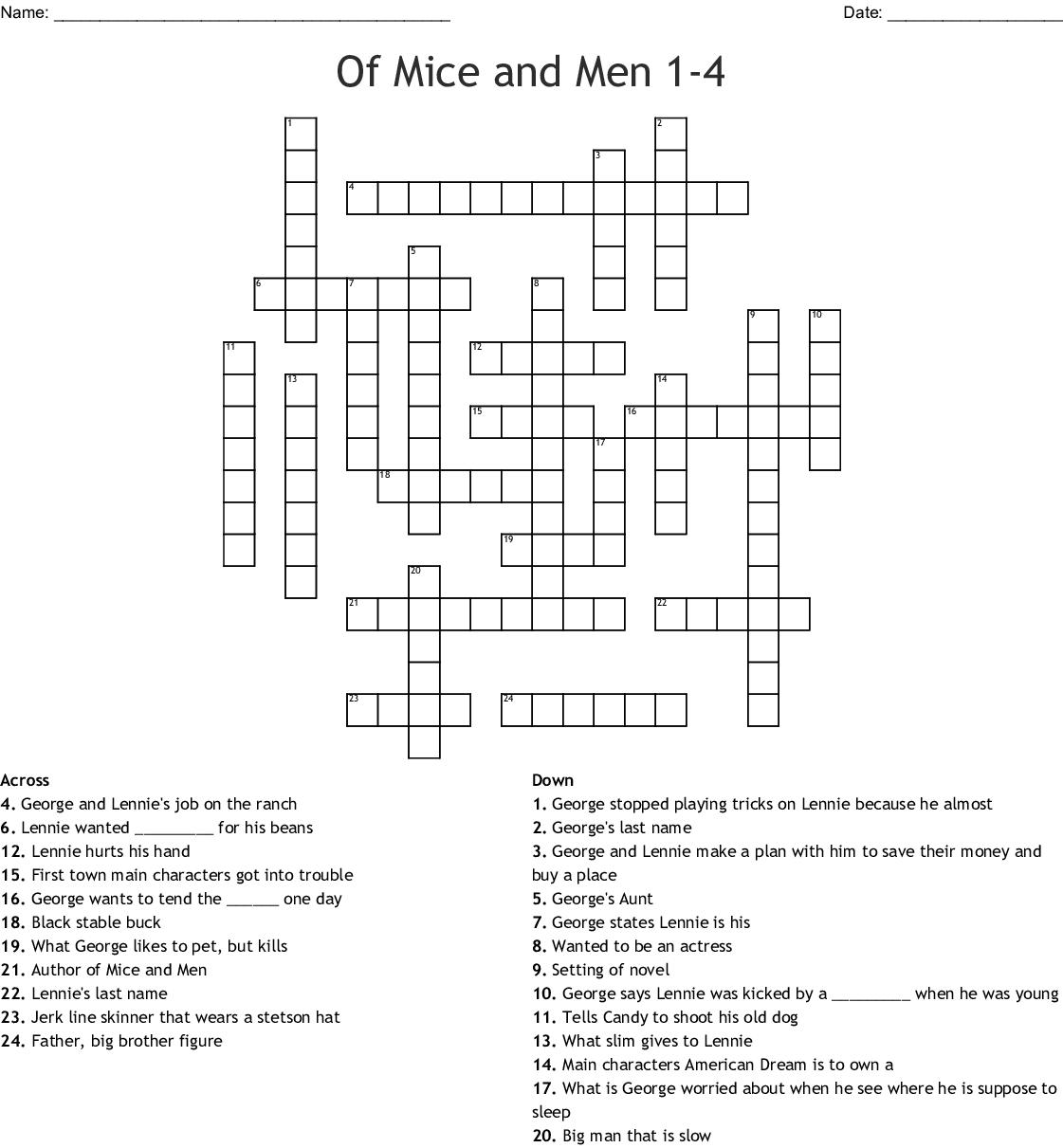 Of Mice And Men 1 4 Crossword