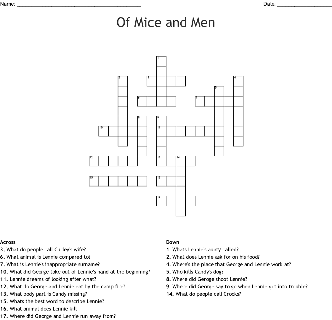 Of Mice And Men Crossword