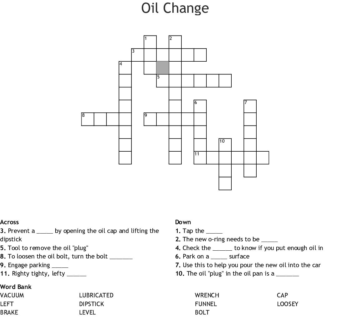 hight resolution of oil change crossword