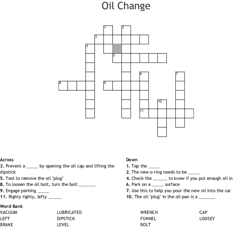 small resolution of oil change crossword