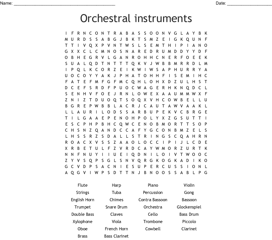 Orchestral Instruments Word Search