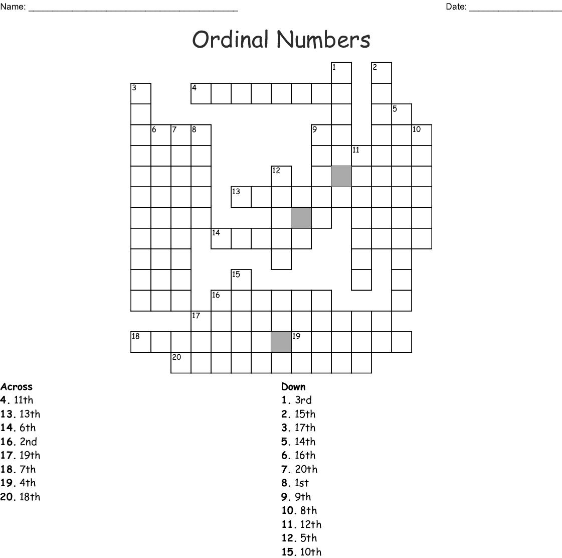 Ordinal Numbers Crossword