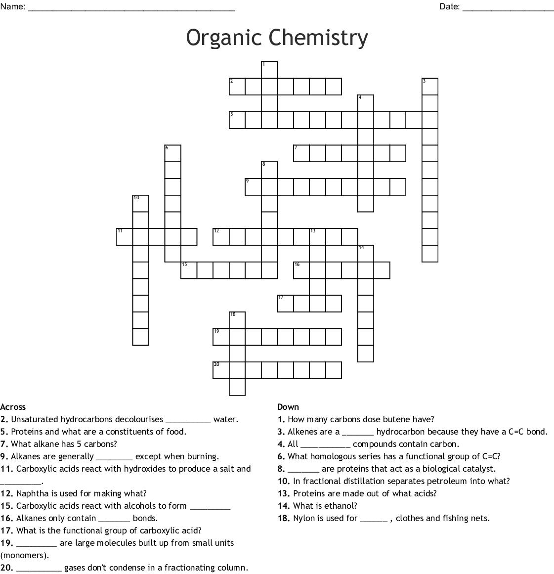 Organic Chemistry Crossword
