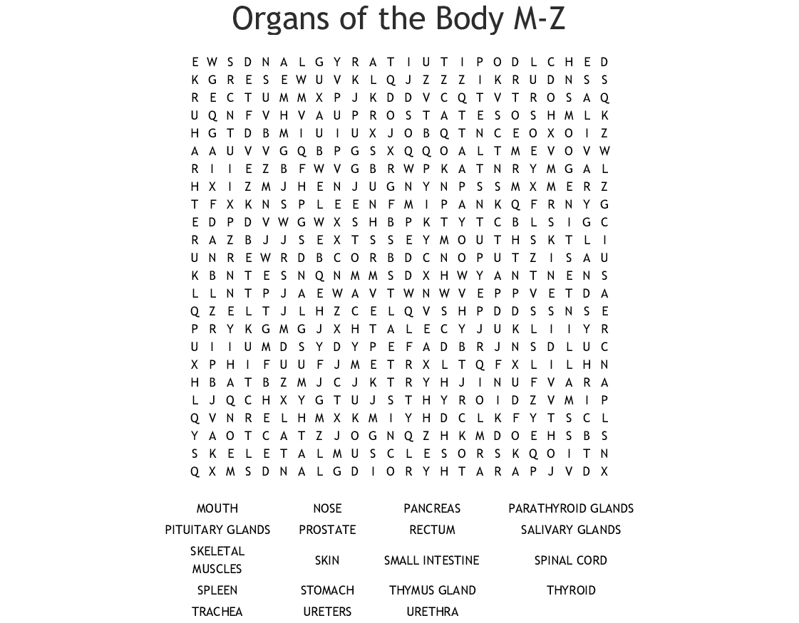 Organs Of The Body M Z Word Search