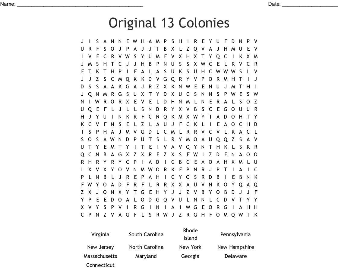 13 Colonies Worksheet For Kids