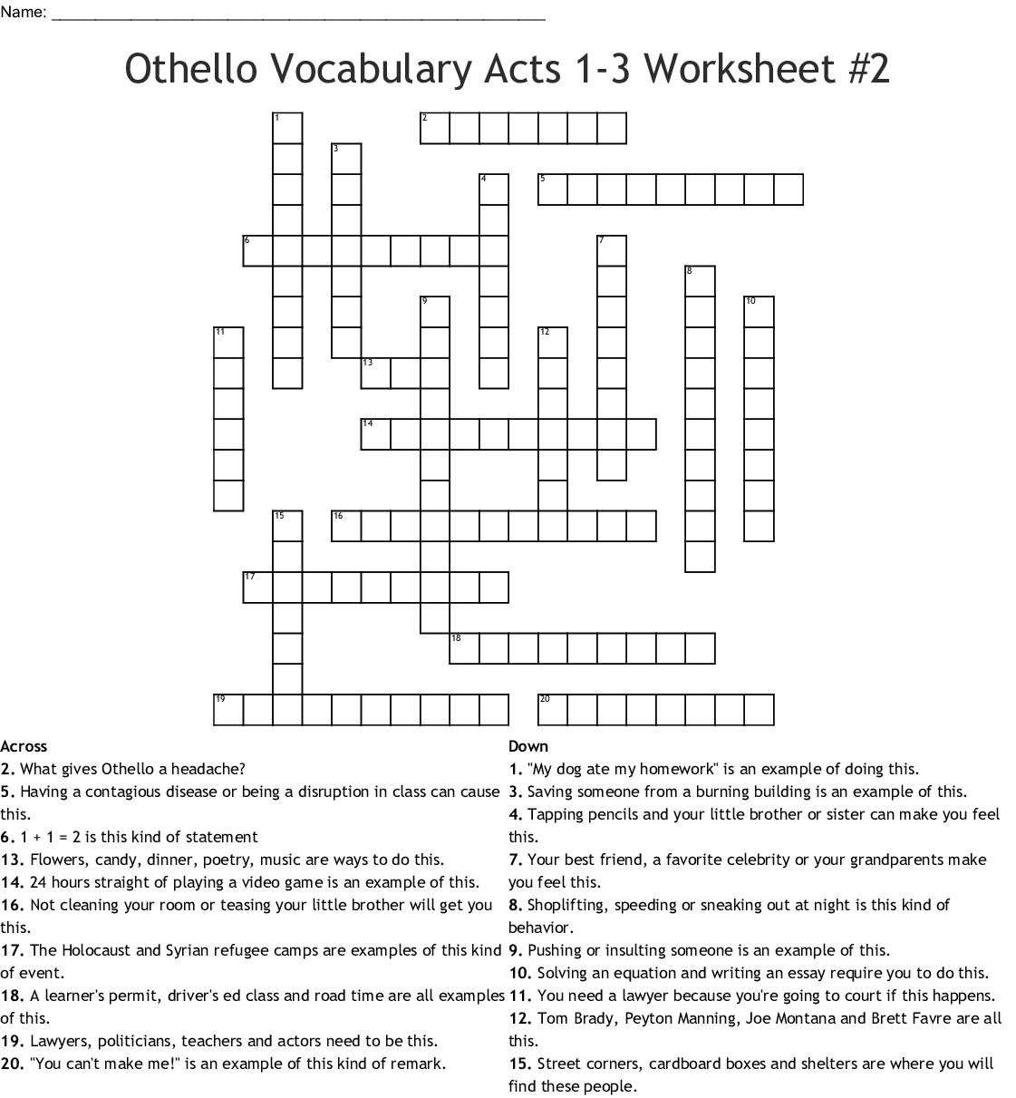 Othello Vocabulary Acts 1 3 Worksheet 2 Crossword