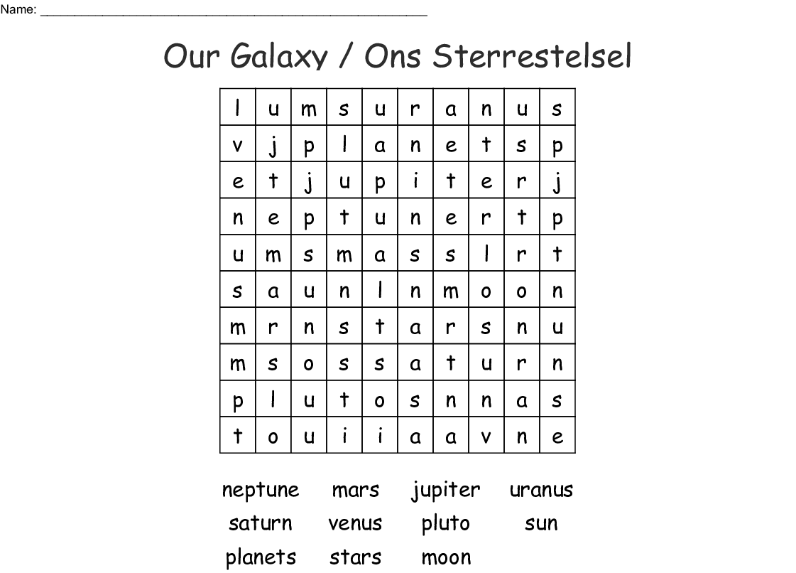 Our Galaxy Ons Sterrestelsel Word Search